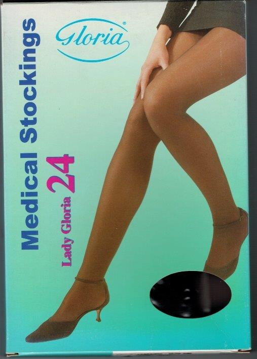 SALE - Lady Gloria 24 Pantyhose Medical Compression stockings 24-26 mmHg Closed Toe COLOUR BEIGE SUNTAN BLACK ON SALE WHILE STOCK LASTS