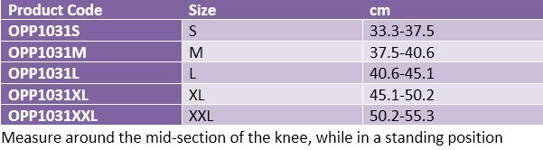 Oppo 1031 knee stabiliser hinged
