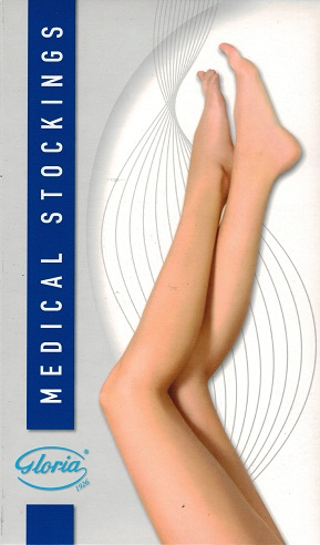 Gloriamed 141 Thigh High Plain Top (Use with Suspendor Belt) Medical Compression Stockings 20-30mmHg Open Toe