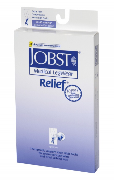 Jobst Relief Unisex Below Knee Medical Compression Stockings 30-40 mmHg Open Toe
