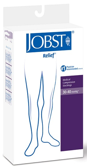 Jobst Relief Unisex Thigh High (with sewn in Belt Attachment) LEFT or RIGHT SINGLE LEG Medical Compression Stockings 30-40 mmHg Open Toe